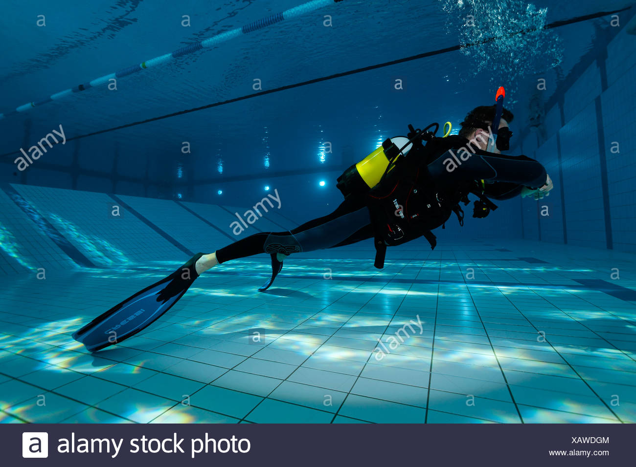 Dive training, fin pivot, in a swimming pool, Nuremberg, Bavaria, Germany - Stock Image