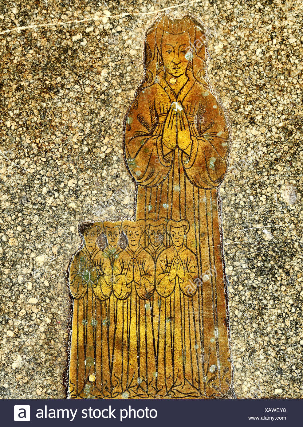 Blickling church, Norfolk, monumental brass to wife of Roger Felthorpe, 1454, and 5 daughters, 15th century carving, brasses - Stock Image