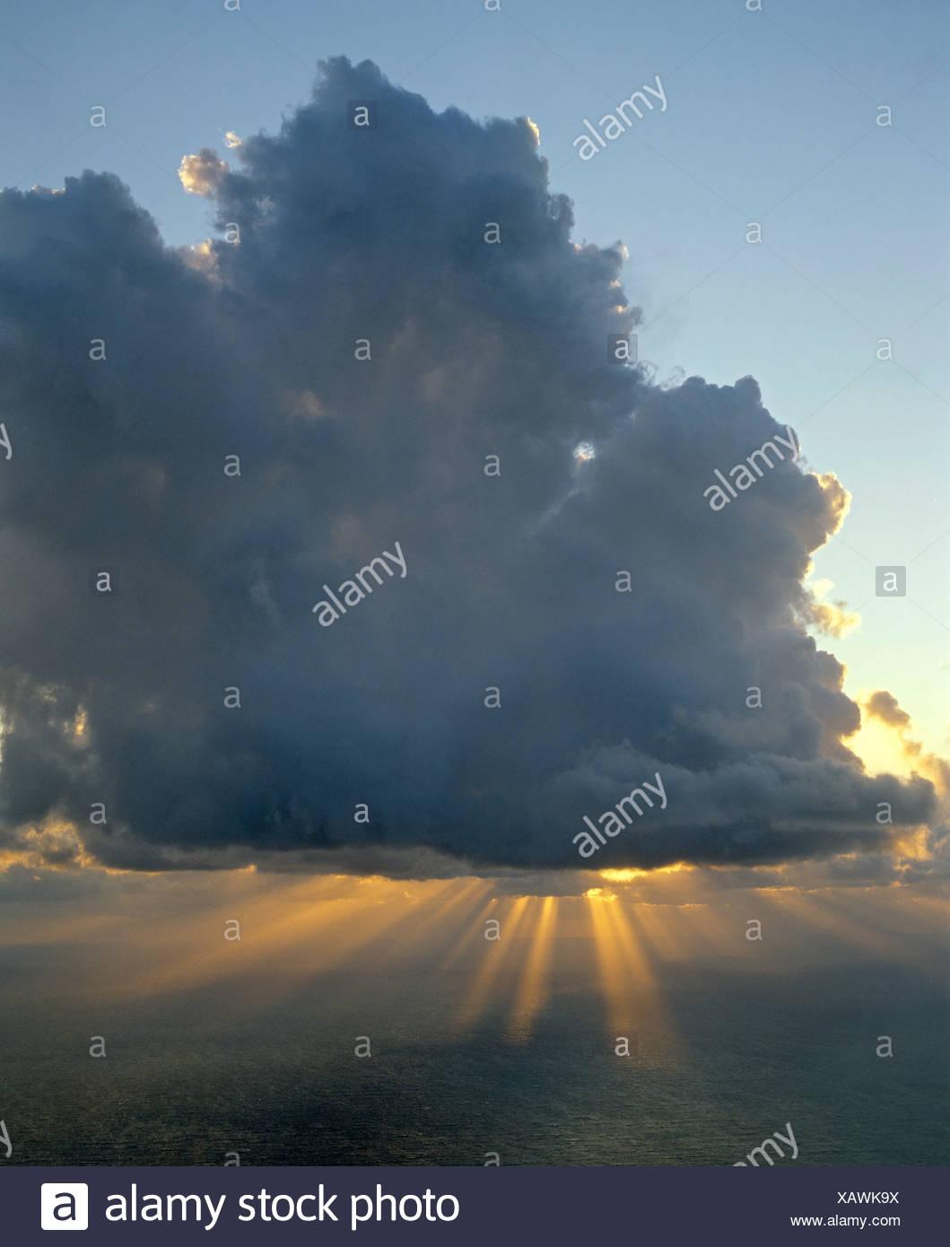 Peak of Stromboli Volcano, sunbeams, rays of sunlight, Aeolian Islands, Sicily, Italy Stock Photo