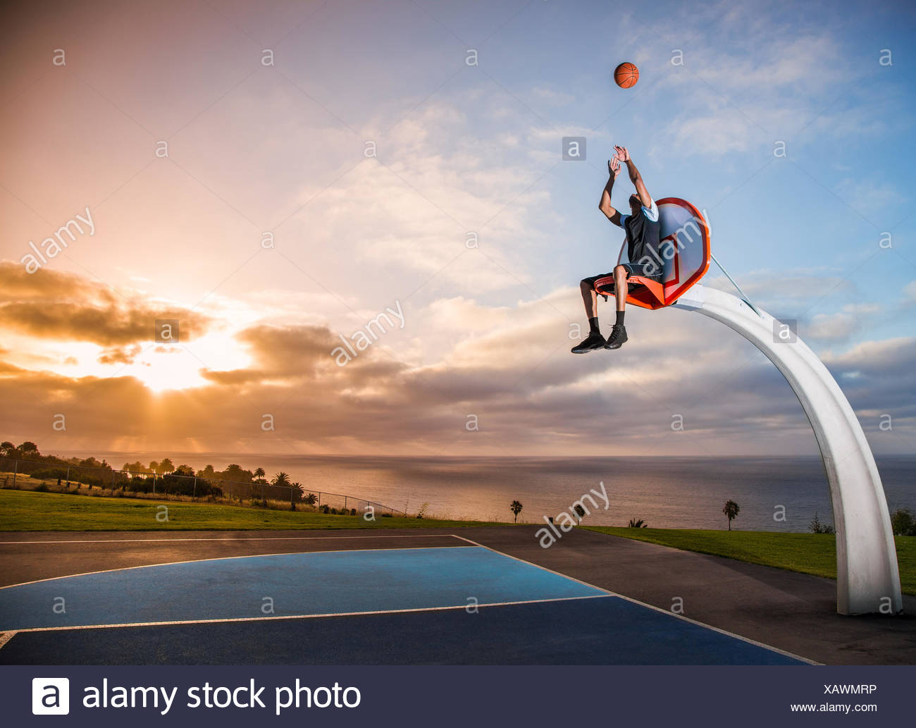 Young man sitting in a basketball hoop in a park, Los Angeles, California, USA - Stock Image