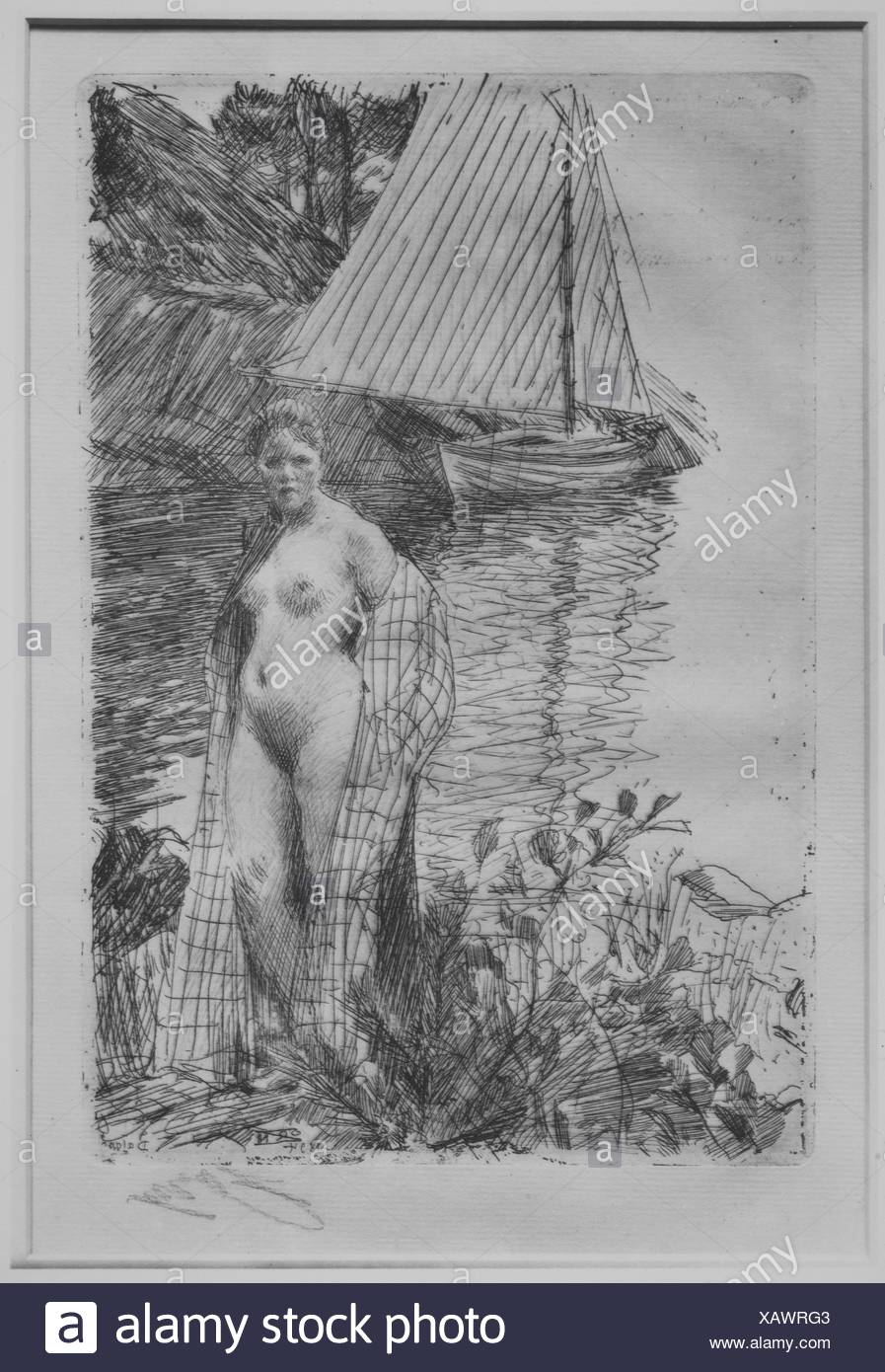 My Model and My Boat. Artist: Anders Zorn (Swedish, Mora 1860-1920 Mora); Date: 1894; Medium: Etching and drypoint; fourth state of four; Dimensions: - Stock Image