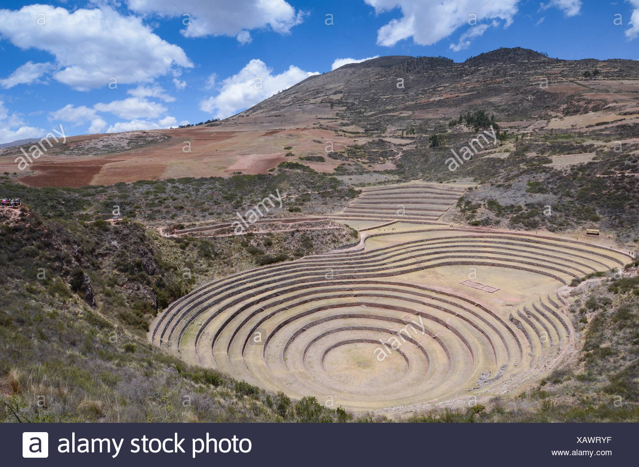 Moray, an archaeological site in Peru approximately 50 km northwest of Cuzco - Stock Image