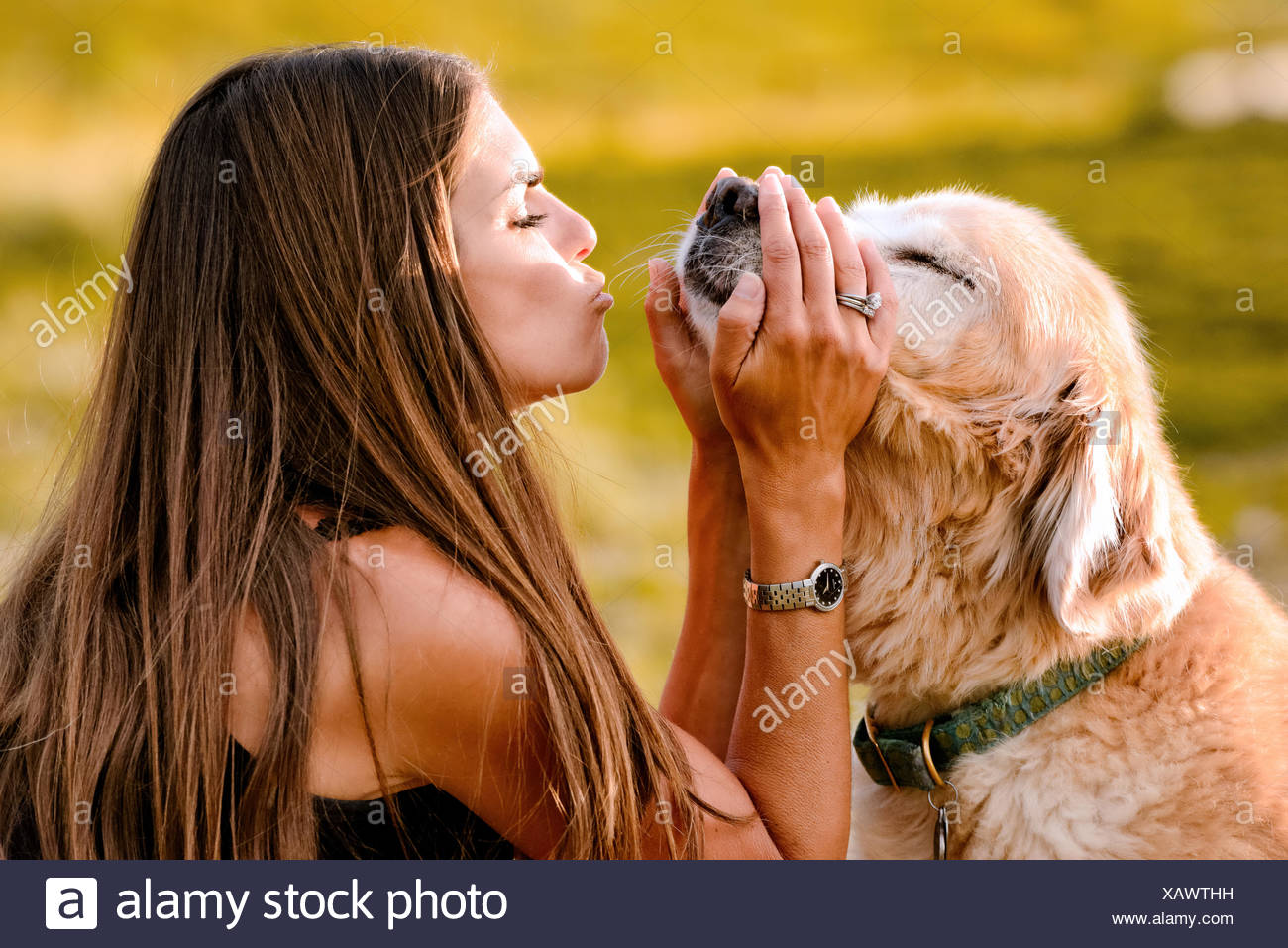 Portrait of woman with golden retriever - Stock Image