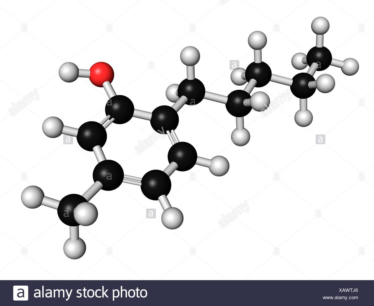 Amylmetacresol antiseptic drug molecule Used in lozenges to treat sore throat Atoms are represented as spheres with - Stock Image