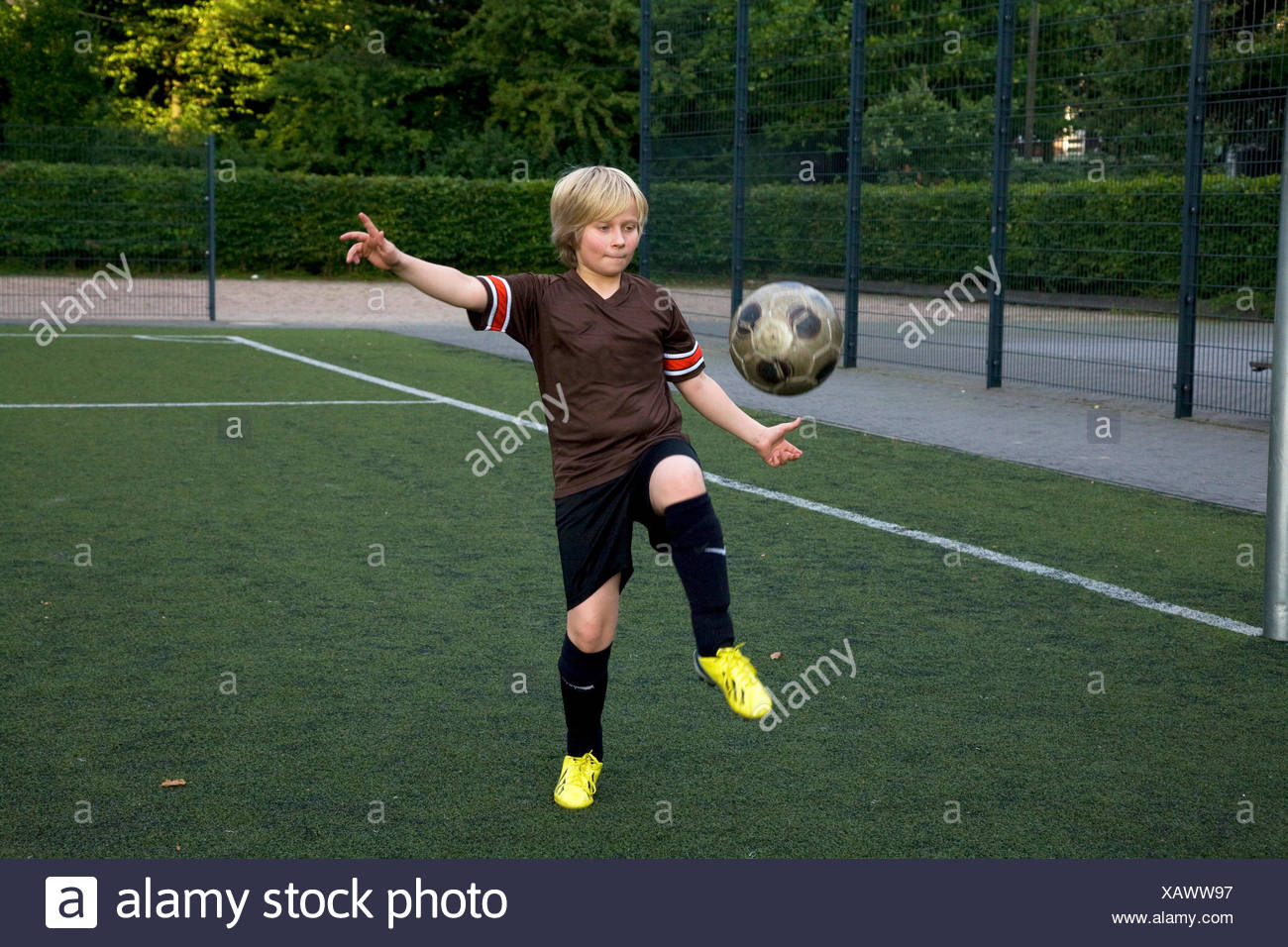 boy at soccer practice - Stock Image
