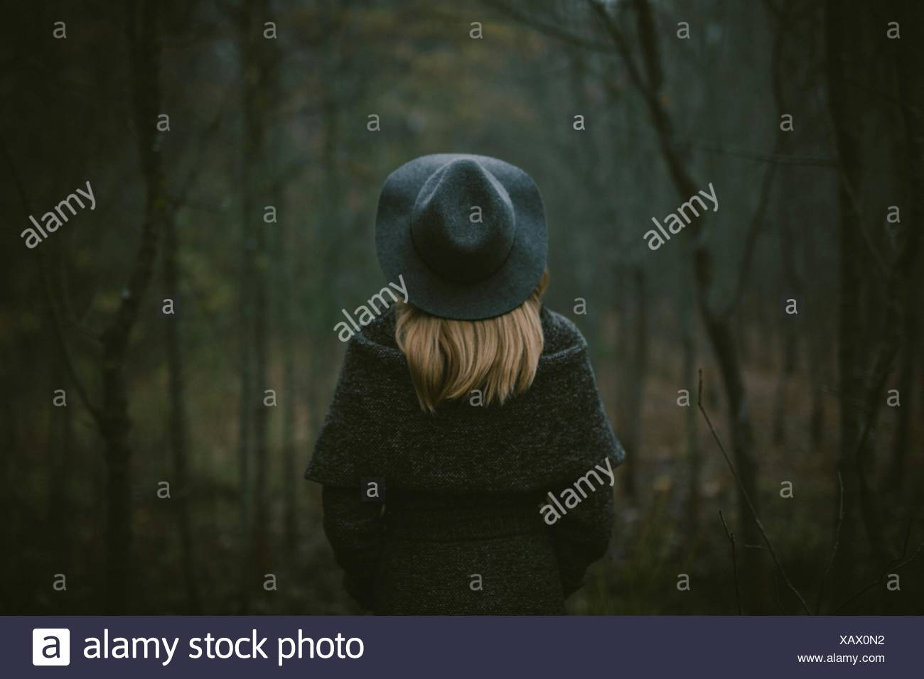 Rear View Of Woman Walking In Forest - Stock Image