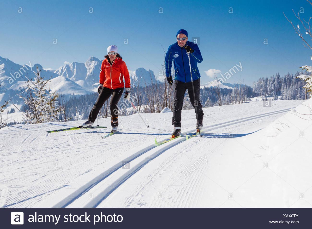 Two cross-country skiers, Gantrisch area, Berner Oberland, Canton of Bern, Switzerland - Stock Image