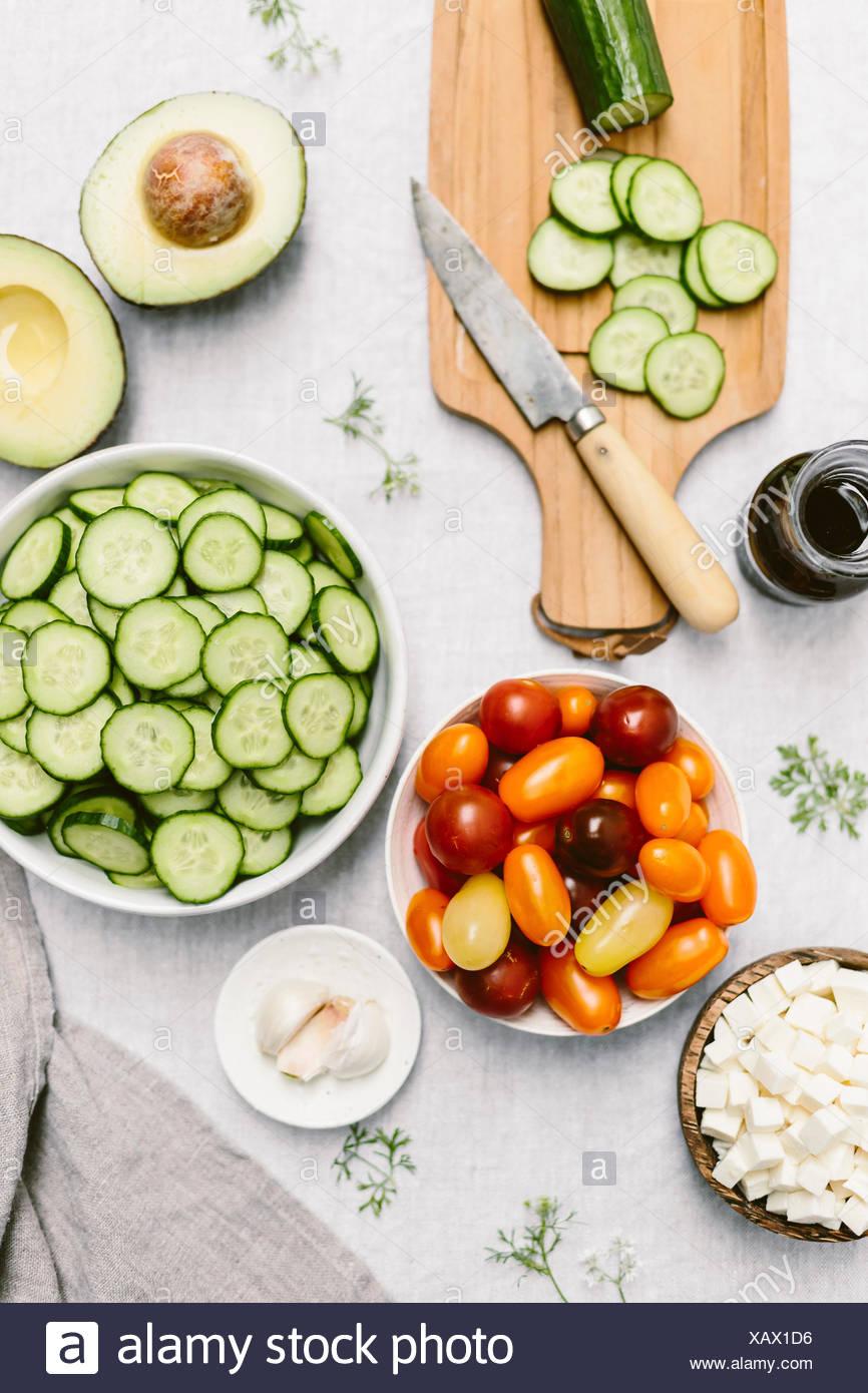 Cucumber Tomato Mozzarella Salad (closer look) - Stock Image