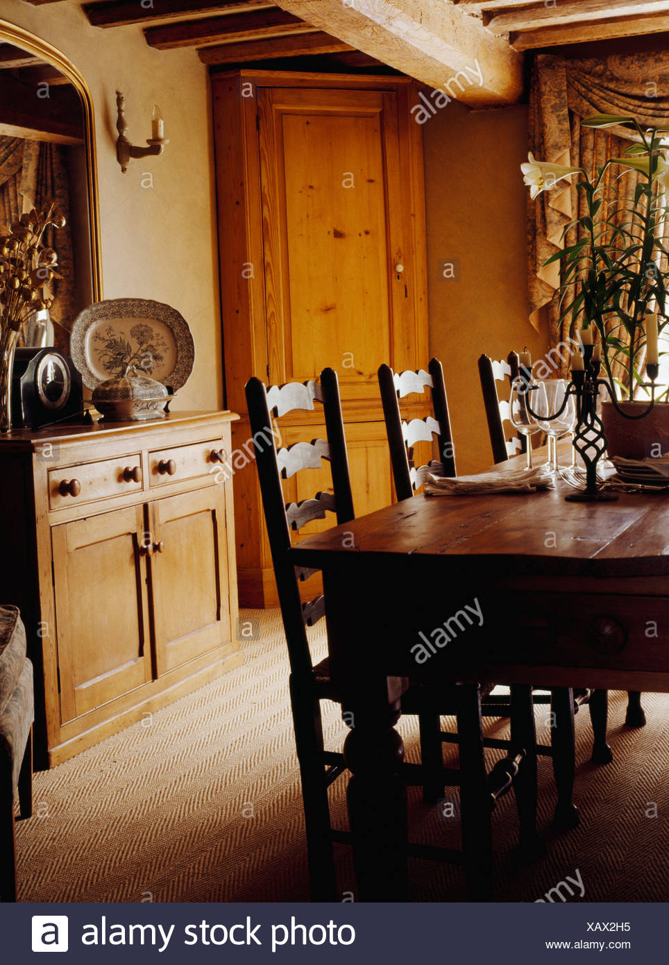 Antique Oak Table And Ladderback Chairs In Cottage Dining Room With Pine  Sideboard And Tall Freestanding Corner Cupboard