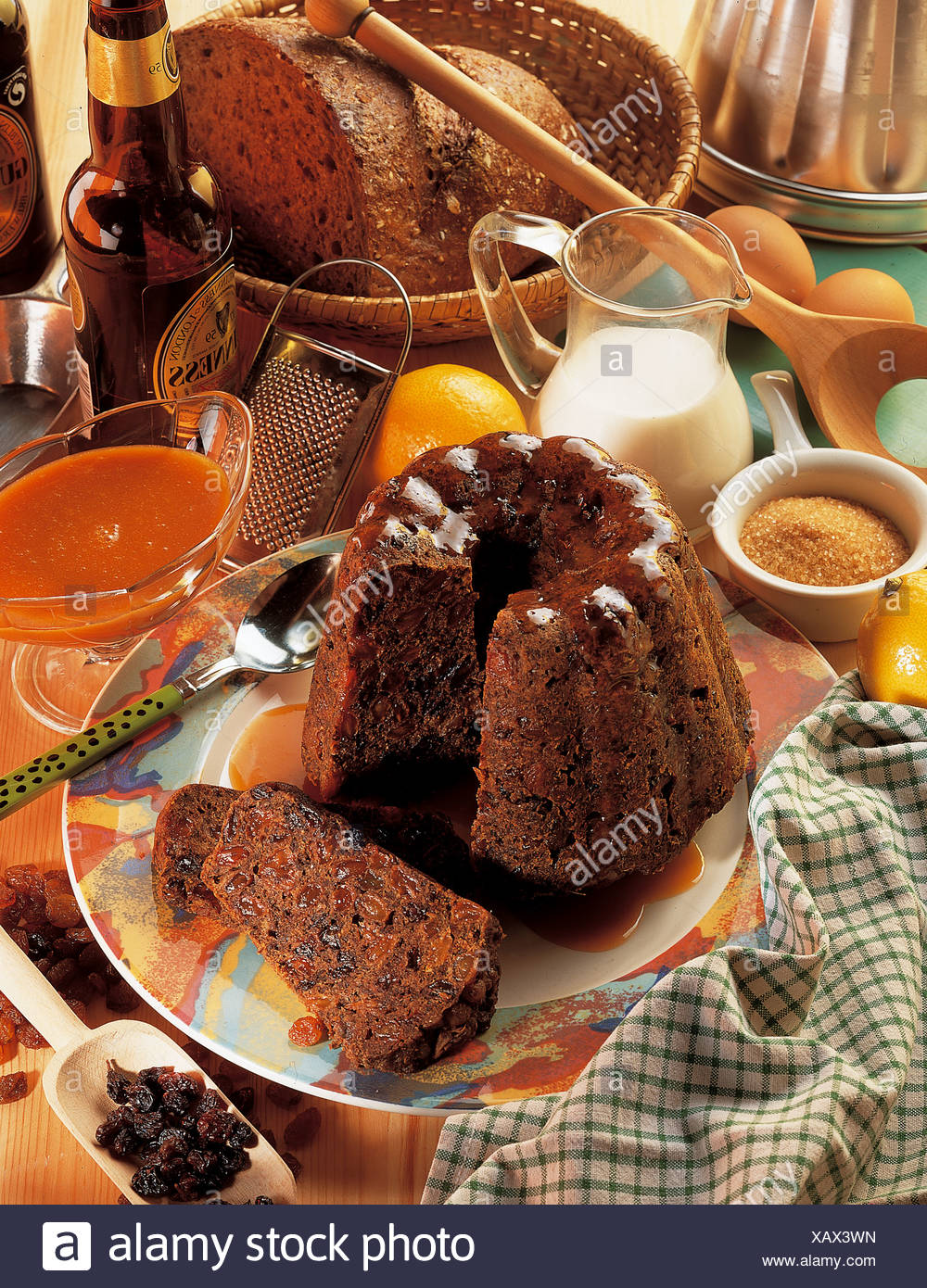 Beer pudding with raisins, Ireland, recipe available for a fee - Stock Image