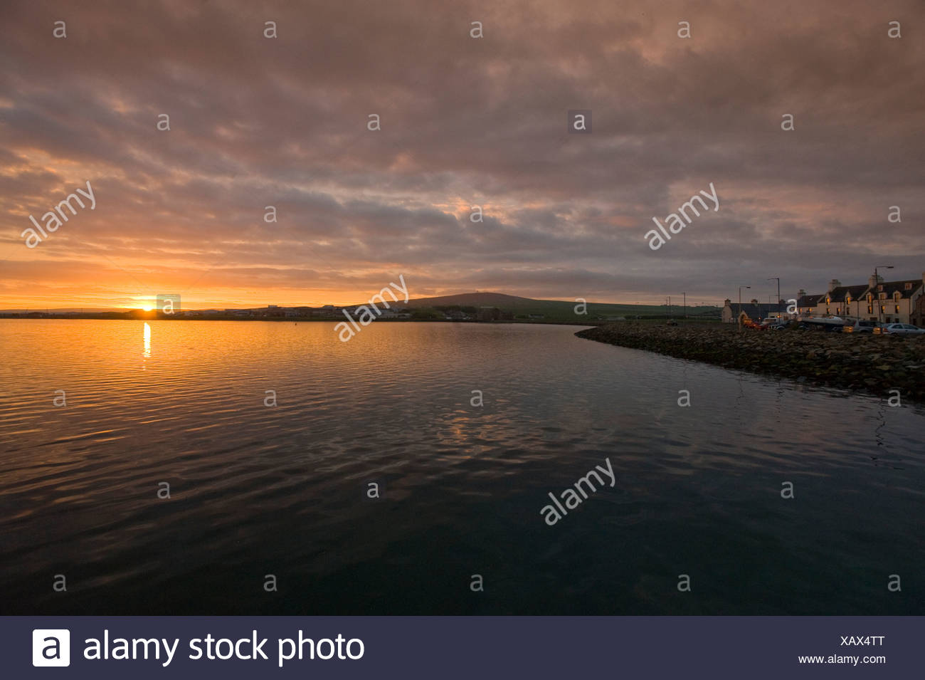 Sunset in Kirkwall, Orkney Islands, Scotland, United Kingdom, Europe - Stock Image