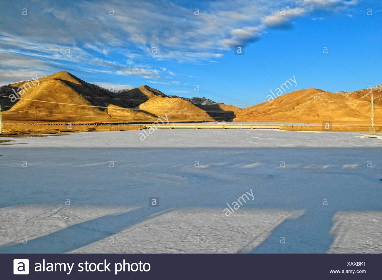 in the shadow of the Tibet railway Tibet China Stock Photo