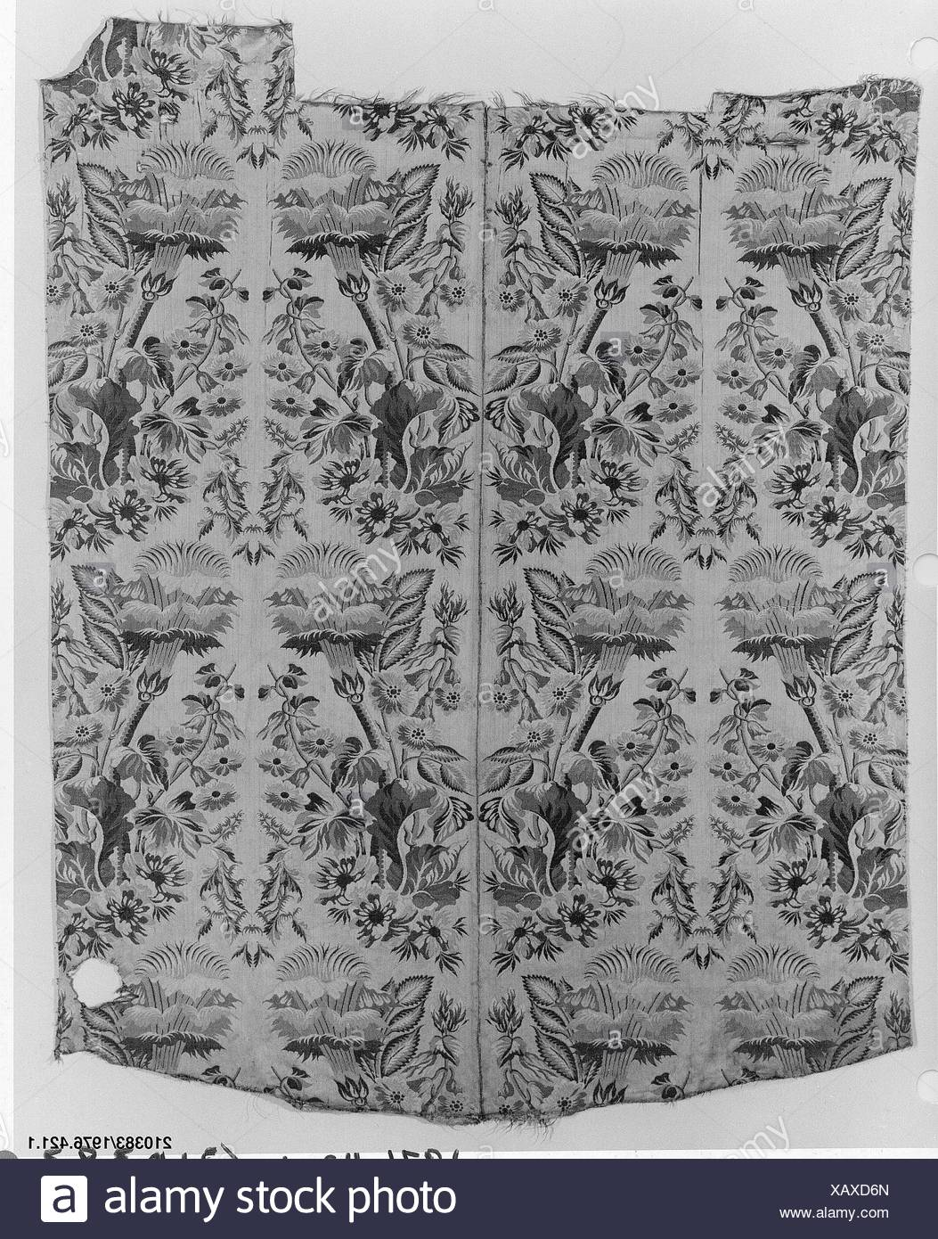 Panel. Date: 18th century; Culture: Italian; Medium: Silk; Dimensions: L. 46 1/2 (irreg.) x W. 38 1/2 inches; Classification: Textiles-Woven; Credit - Stock Image