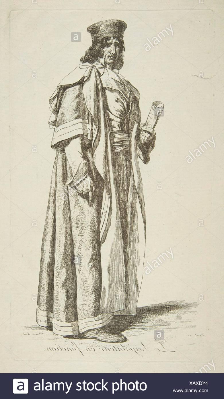 The Legislator in Office. Series/Portfolio: Projets de Costumes; Artist: After Jacques Louis David (French, Paris 1748-1825 Brussels); Artist: baron - Stock Image