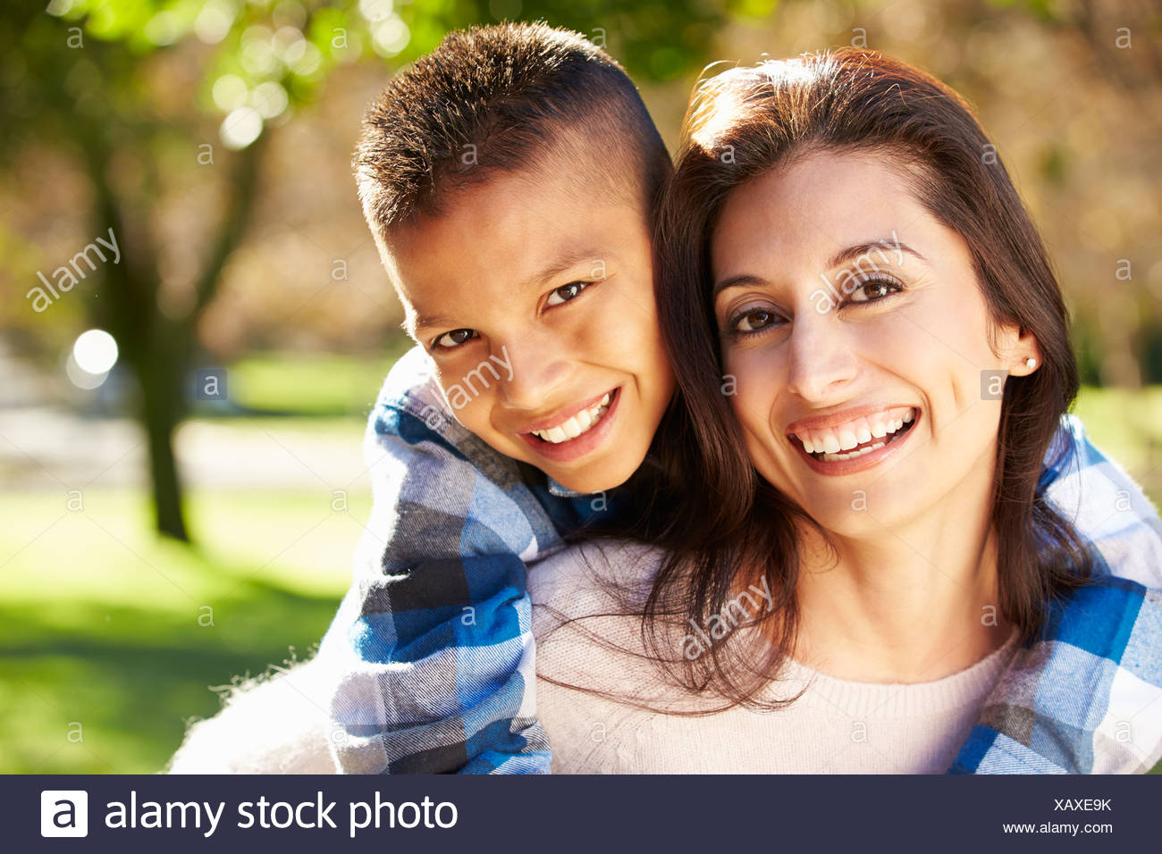 Portrait Of Mother And Son In Countryside - Stock Image