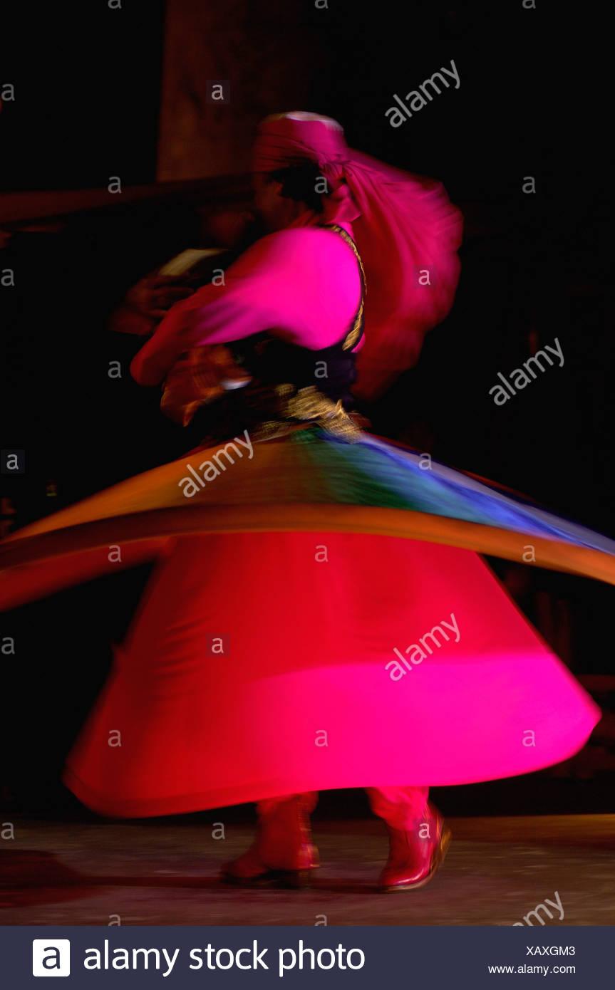 dervish dance presentation dervishes entertainment Al Hadheera restaurant Jumeirah Bab al Shams hotel Dubai U - Stock Image