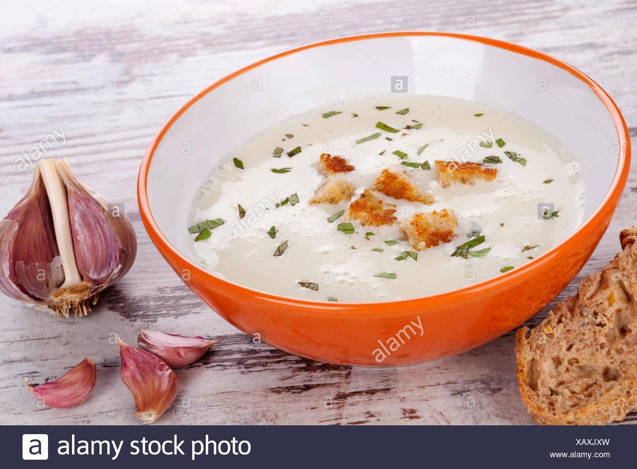 Garlic soup. - Stock Image