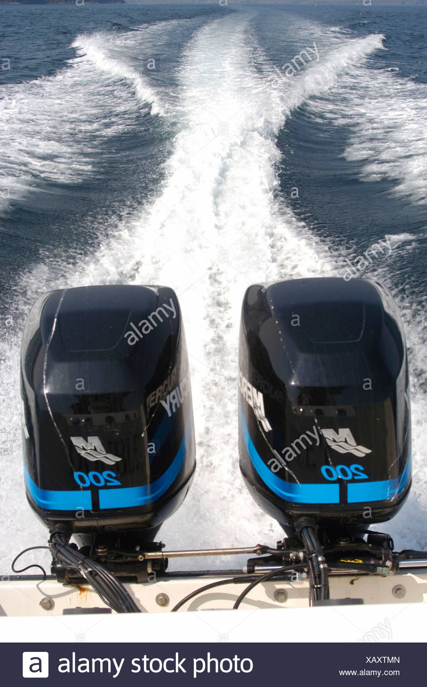 Boat engine boat outboard motor sea two engines Waterway fairway motorboat - Stock Image