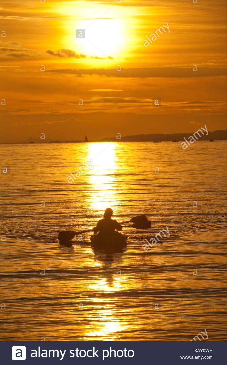 Switzerland, Europe, sundown, sunset, canoe, paddle boat, lake Constance, lake, - Stock Image