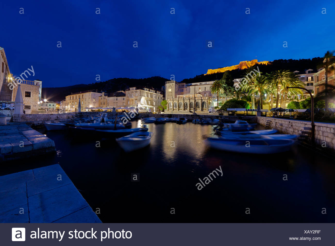 Harbour promenade at Trg Svetog Stjepana, St. Stephen's square, Hvar, Hvar Island, central Dalmatia, Dalmatia, Adriatic coast - Stock Image