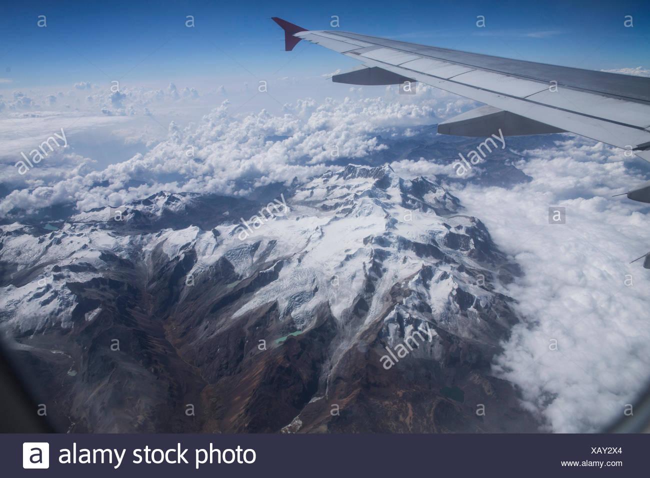 Cordillera Real near La Paz with Ancohuma 6520 ms, - Stock Image