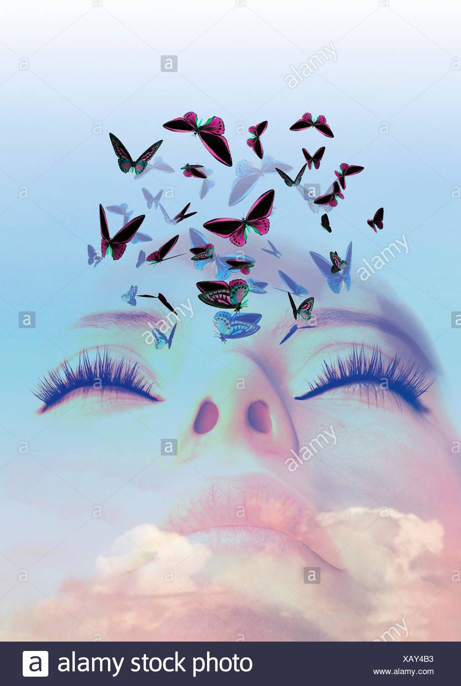 Sleeping woman dreaming of butterflies, illustration. - Stock Image