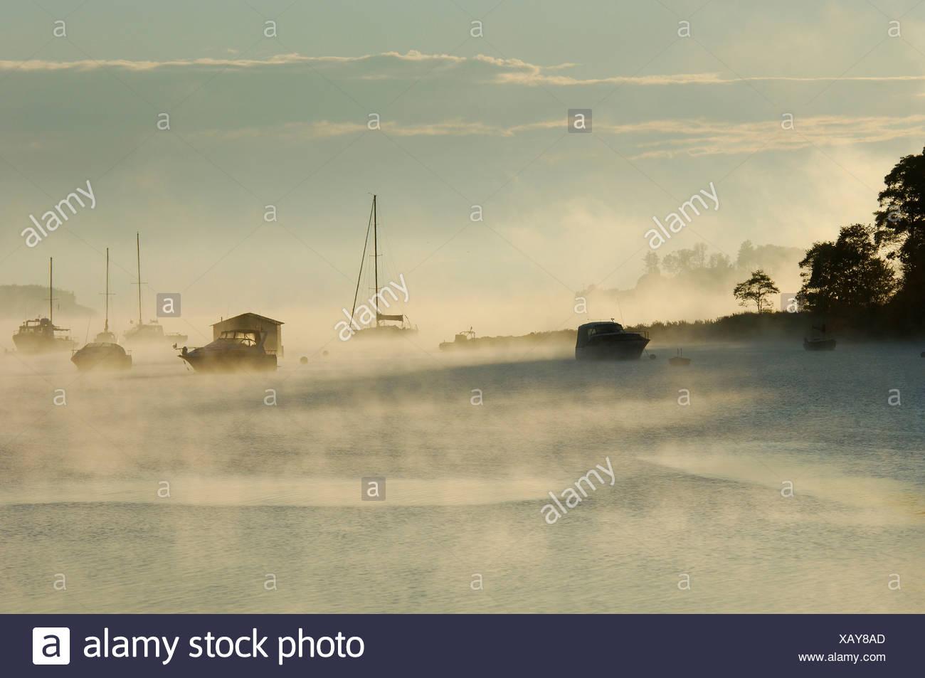 Mahone Bay sail boats boats fogs mood sea coast Nova Scotia maritime Canada - Stock Image