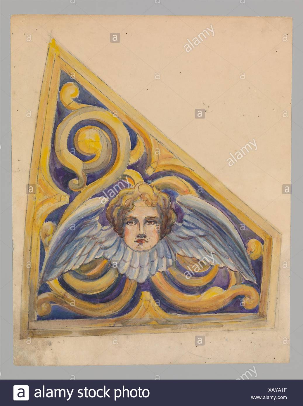 Design for trapezoidal panel. Artist: Louis Comfort Tiffany (American, New York 1848-1933 New York); Maker: Possibly Tiffany Glass Company (1885-92); - Stock Image