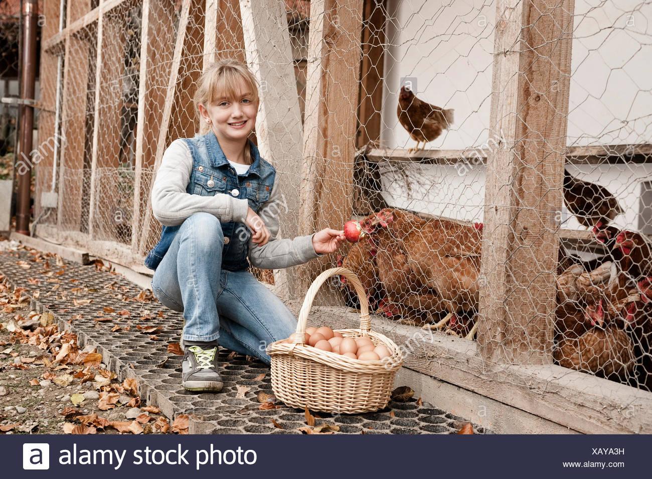 Girl feeding chickens on organic farm Stock Photo