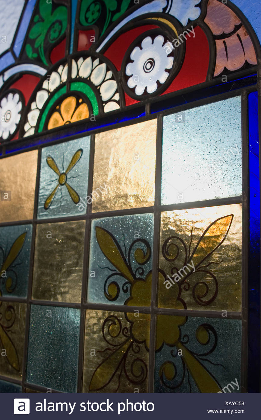 Architectural Salvage: Stained Glass salvaged for resale. - Stock Image