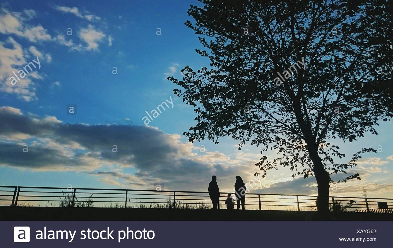 Low Angle View Of Silhouette Family Standing By Railing Against Sky - Stock Image
