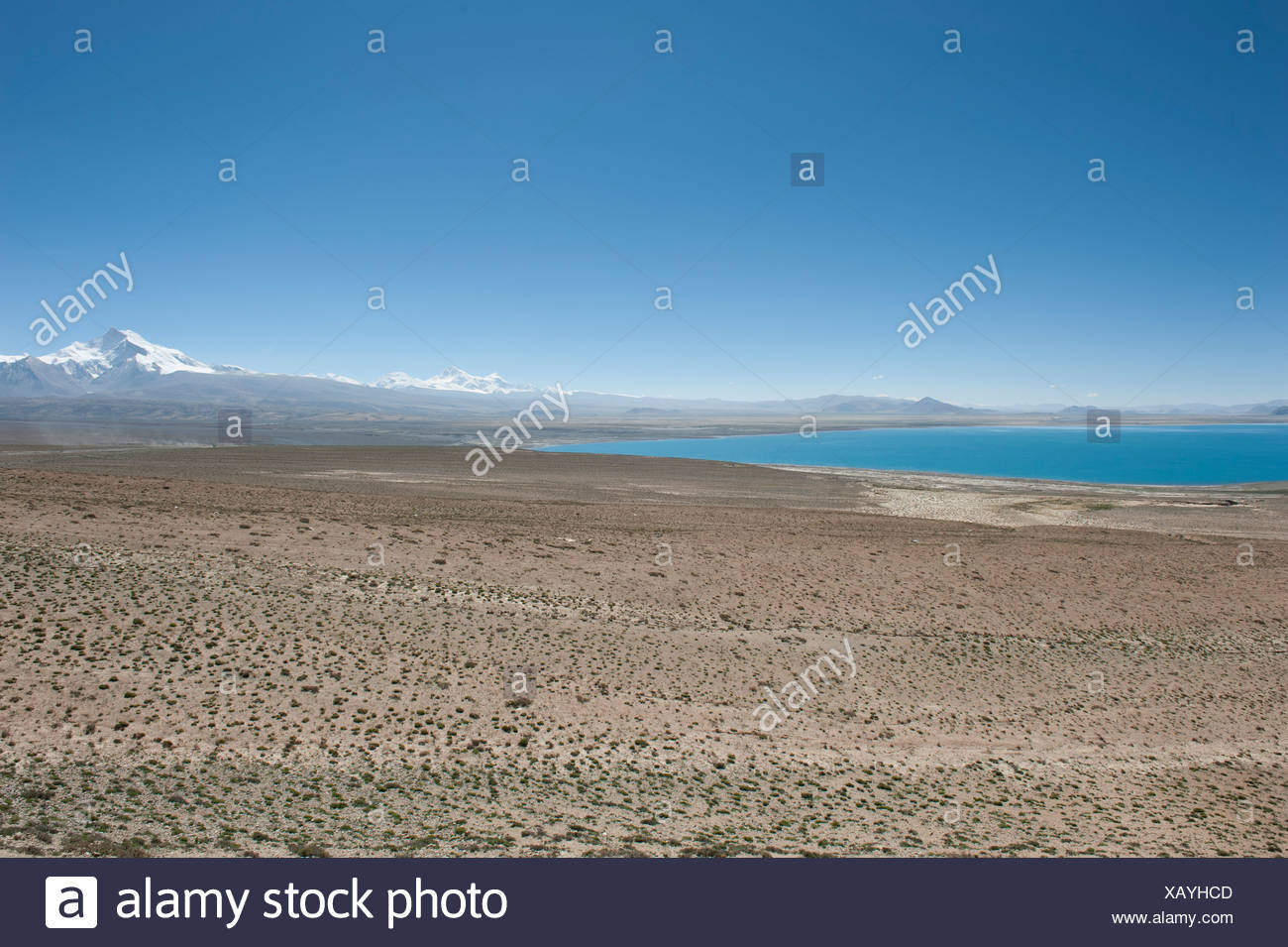 Endless wide landscape, Lake Pelku Tso, high-level, behind Mt. Shishapangma, Himalayan, central Tibet, U-Tsang - Stock Image