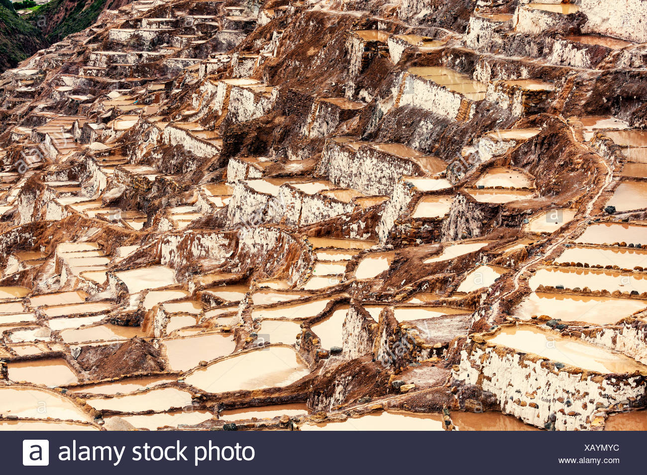 Peru, Cuzco, Sacred Valley, Maras, Salt pools - Stock Image