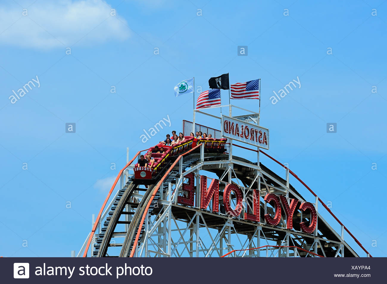 Coney Island Cyclone, rollercoaster, Astroland Park, Coney Island, New York, USA - Stock Image