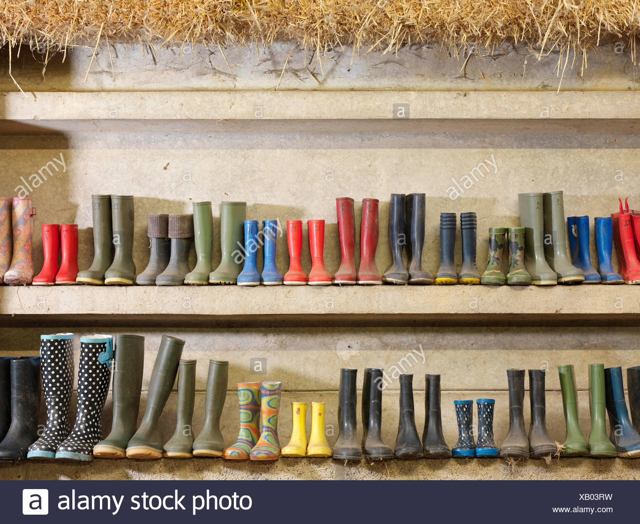 Wellington Boots Against The Wall Stock Photo