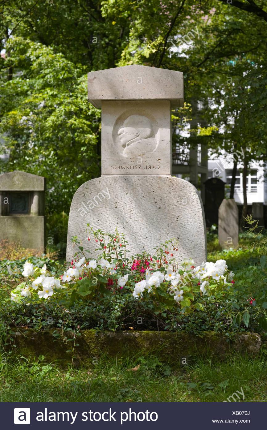 Grave of Carl Spitzweg, 1808-1885, genre painter, Alter Suedfriedhof, old cemetery in Munich, Bavaria, Germany - Stock Image