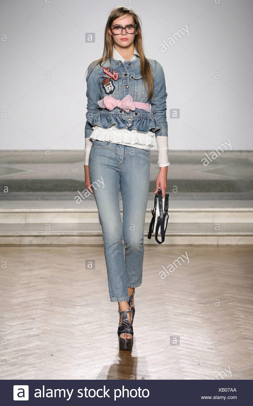 60804910542 Charles Anastase London Ready to Wear Spring Summer Bespectacled female wearing  denim jacket