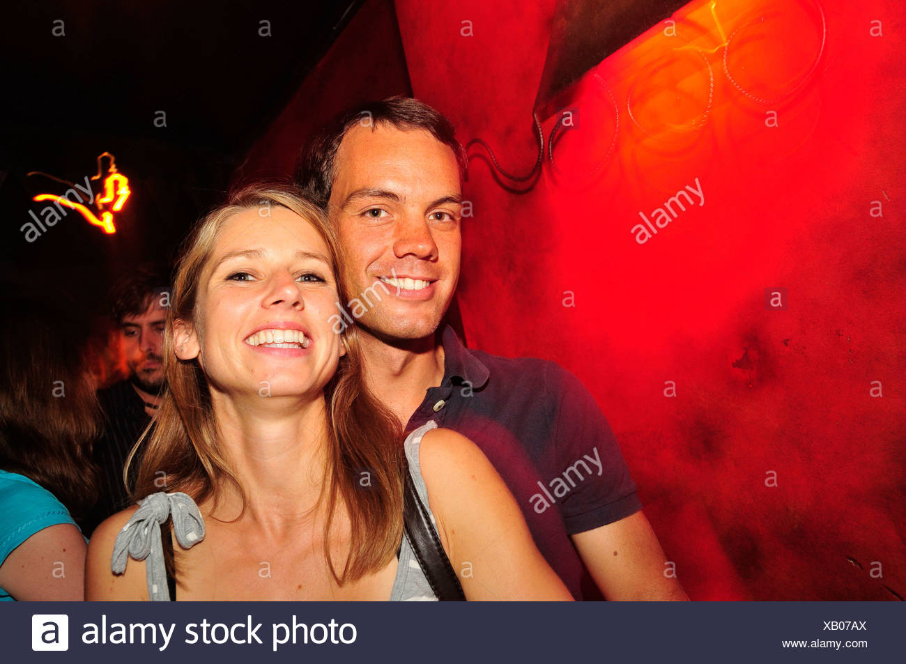 Young couple in a night club, nightlife, Madrid, Spain, Iberian Peninsula, Europe - Stock Image