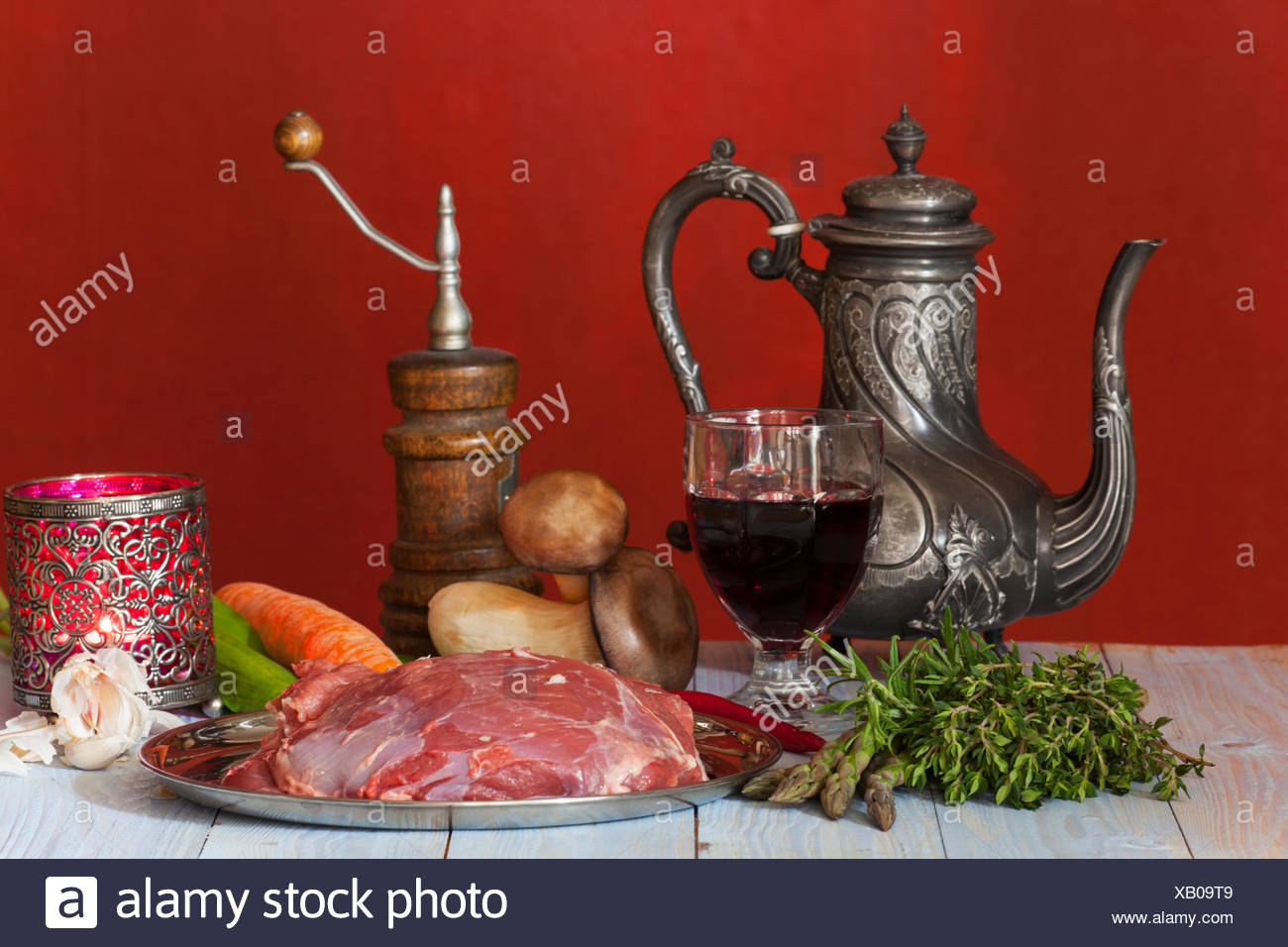 raw lamb meat and vegetables - Stock Image