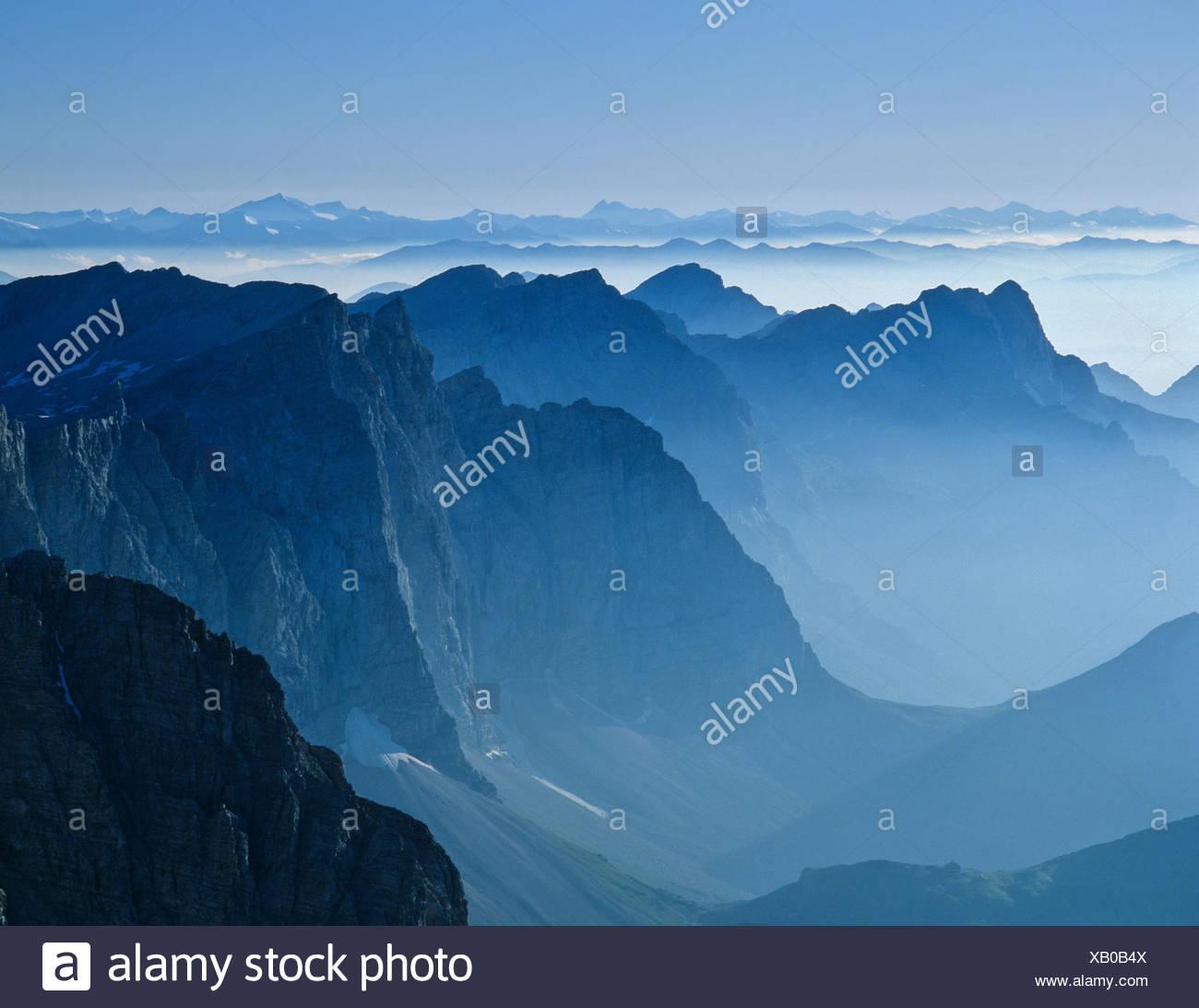 View from the Birkkarspitze, backlight, Karwendel, Tyrol, Austria Stock Photo