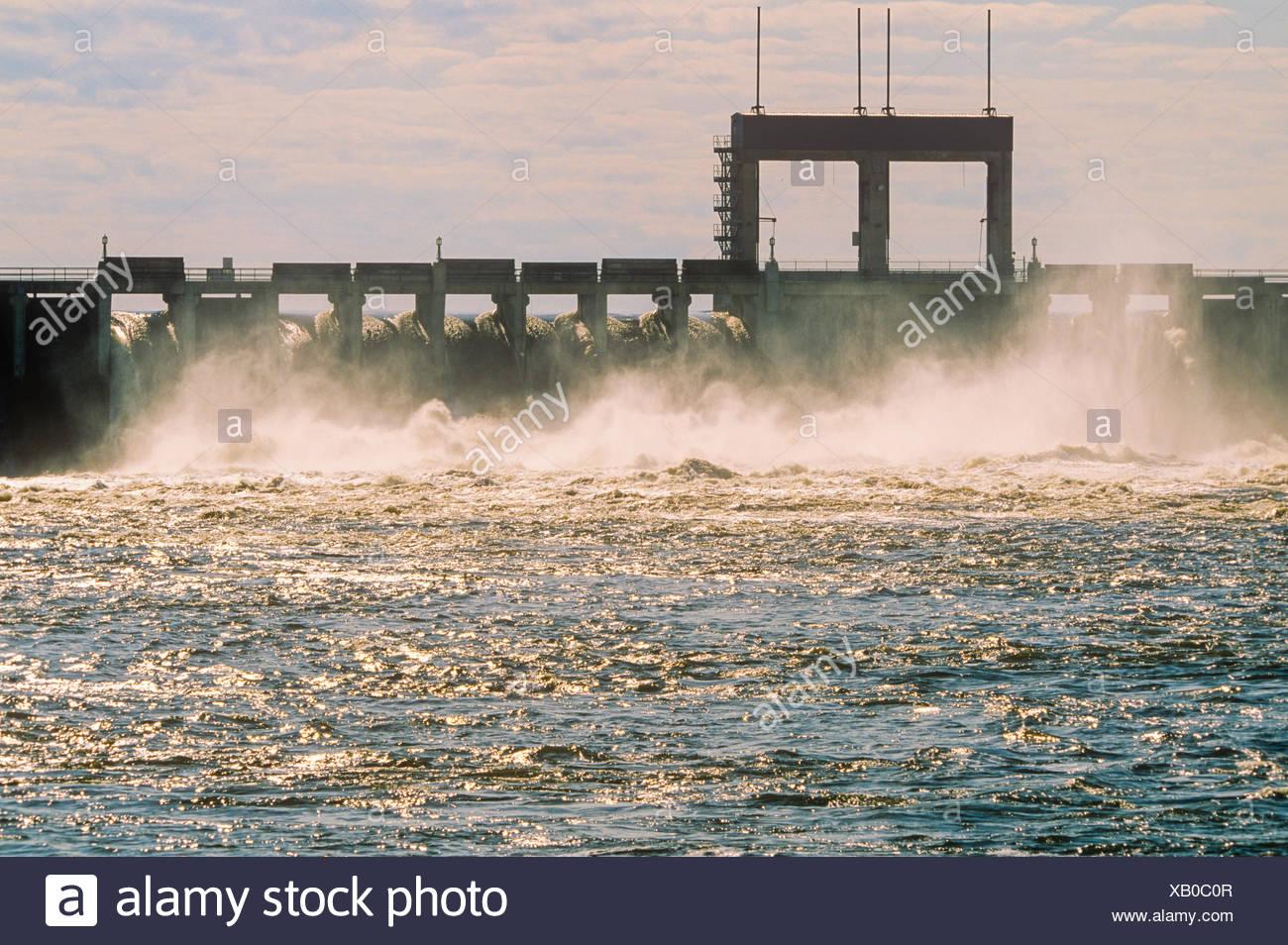 Hydro dam, Seven Sisters Falls, Manitoba, Canada - Stock Image