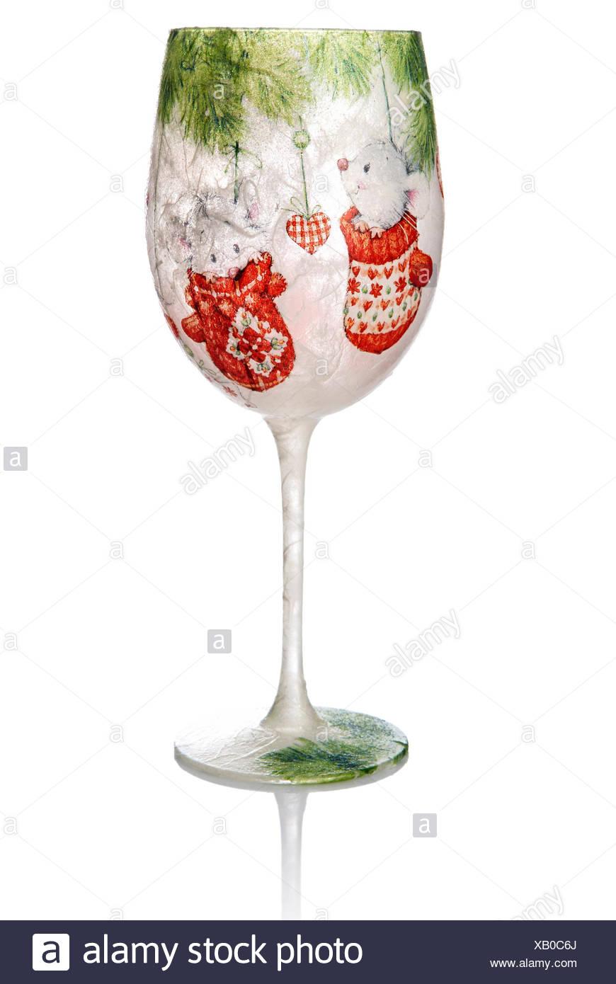 Christmas Decoupage On The Wine Glass Christmas Decoration