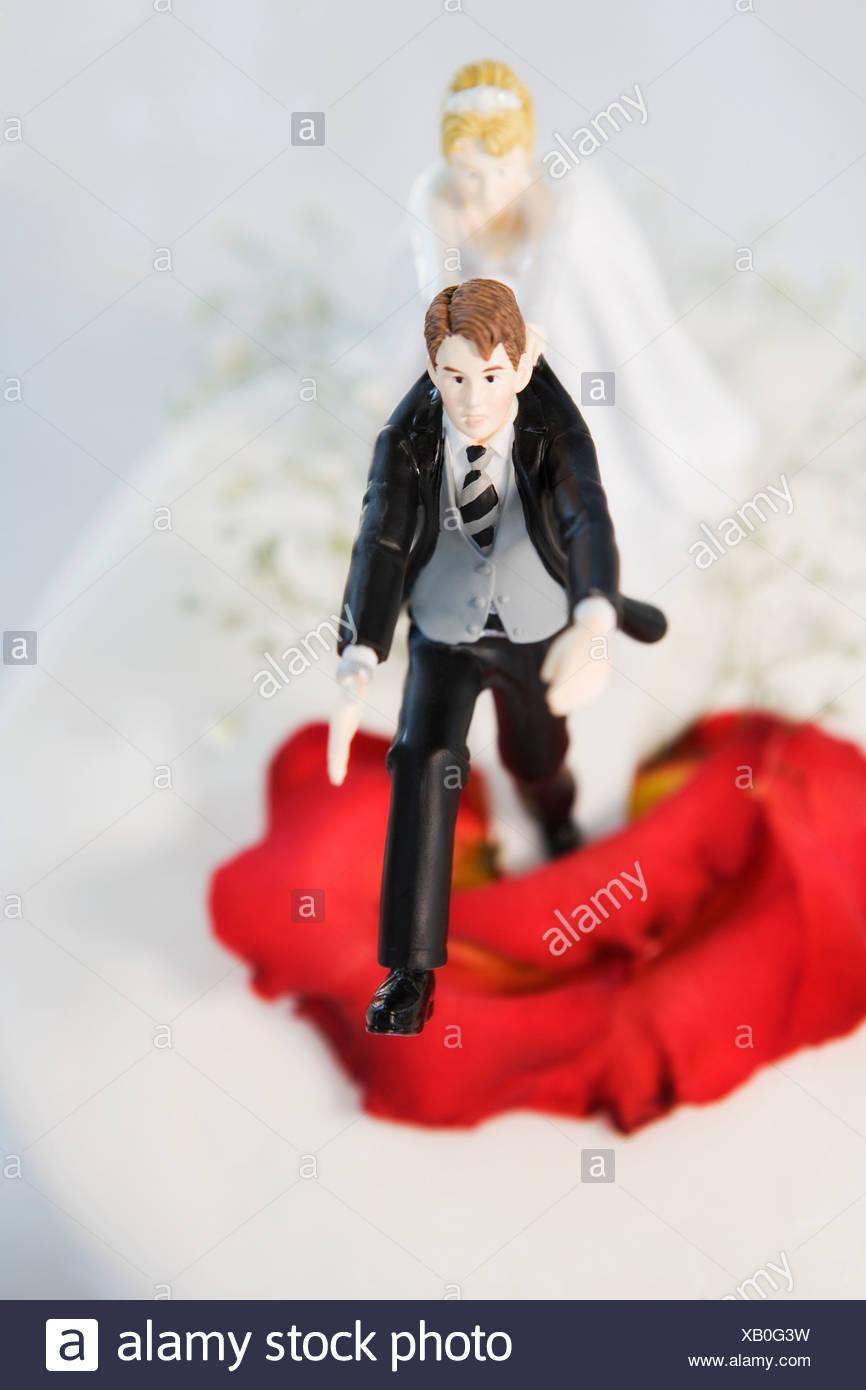High angle view of a wedding cake figurine - Stock Image