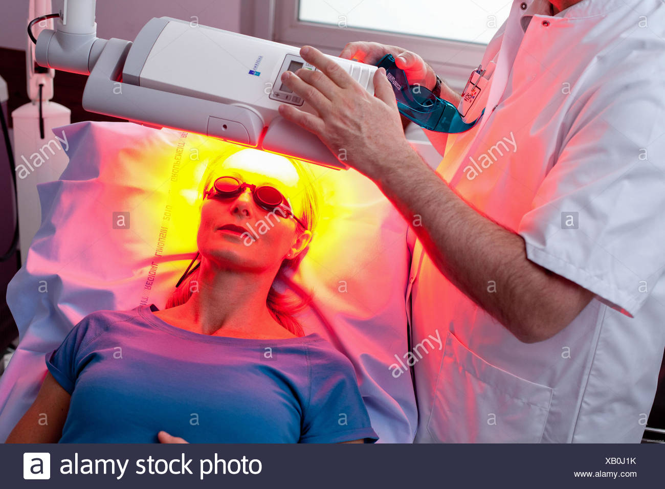 Topical Photodynamic Therapy (TPT), non-invasive treatment designed to reduce skin damage; Dermatology department of the CHU of - Stock Image