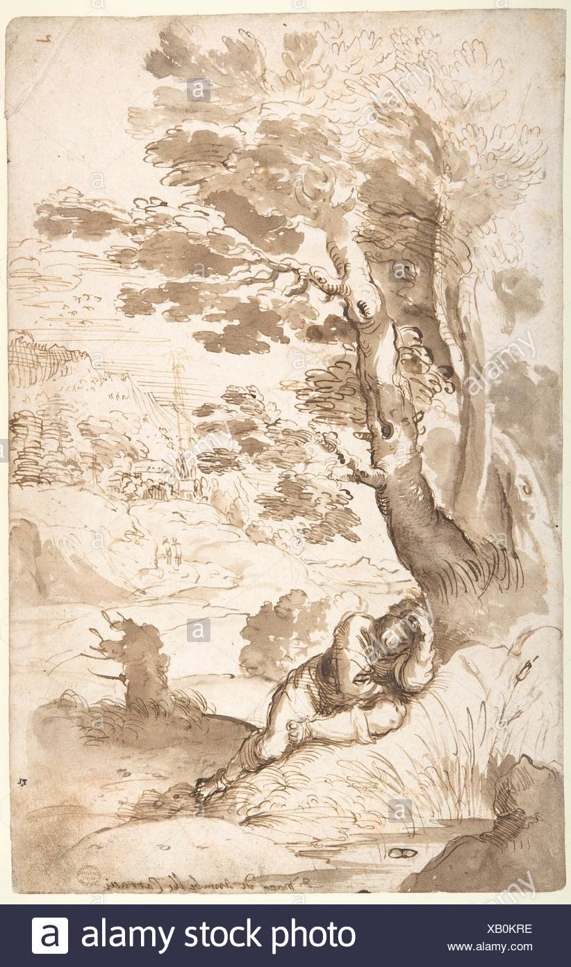 Landscape with Jacob Sleeping. Artist: Annibale Carracci (Italian, Bologna 1560-1609 Rome); Date: 1560-1609; Medium: Pen and two tones of brown ink, - Stock Image
