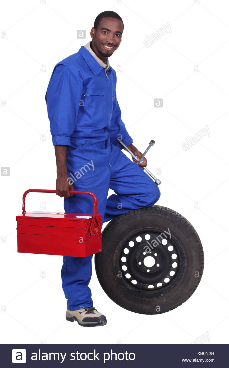 portrait of a mechanic - Stock Image