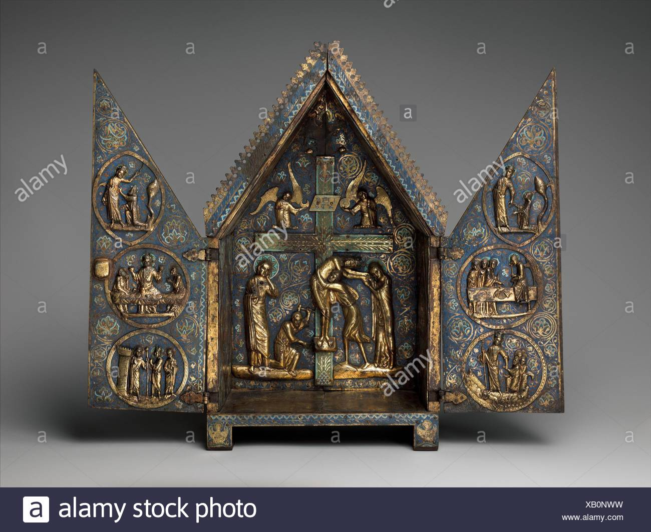 Tabernacle of Cherves. Date: ca. 1220-1230; Geography: Made in Limoges, France; Culture: French; Medium: Copper (plaques): engraved, scraped, - Stock Image