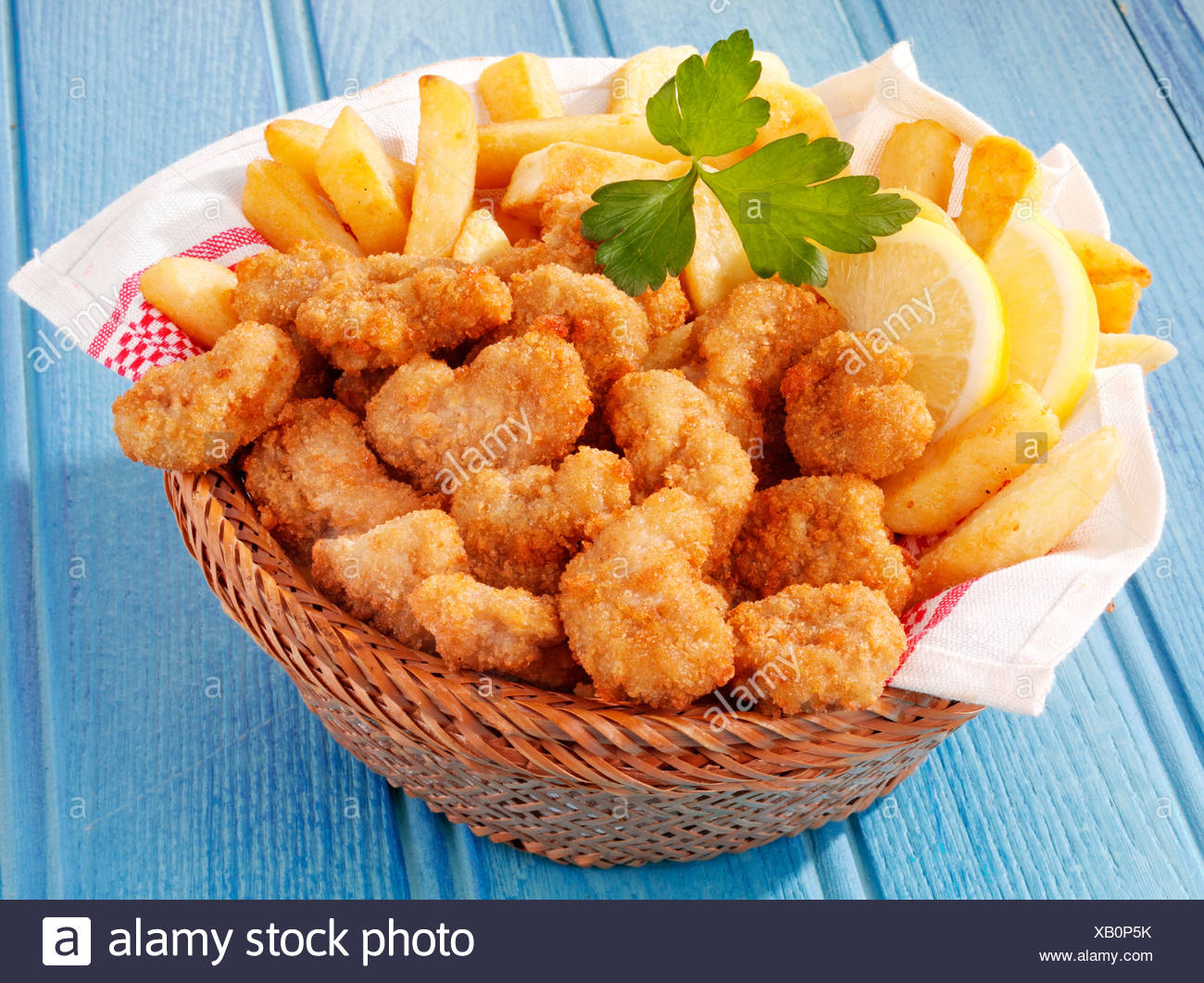 BASKET OF SCAMPI AND CHIPS Stock Photo