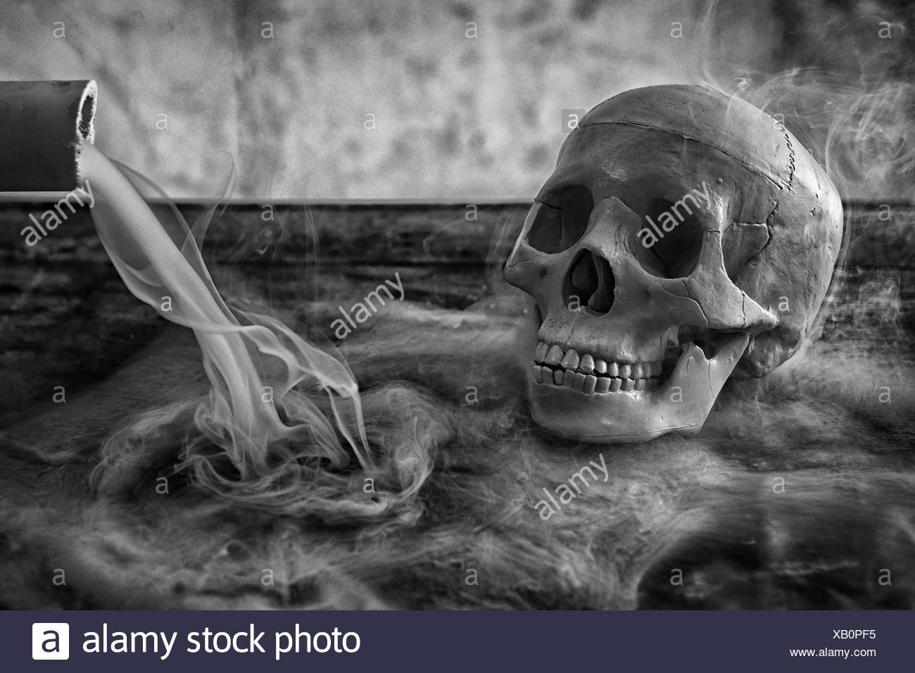 Human Skull By Bamboo With Smoke - Stock Image