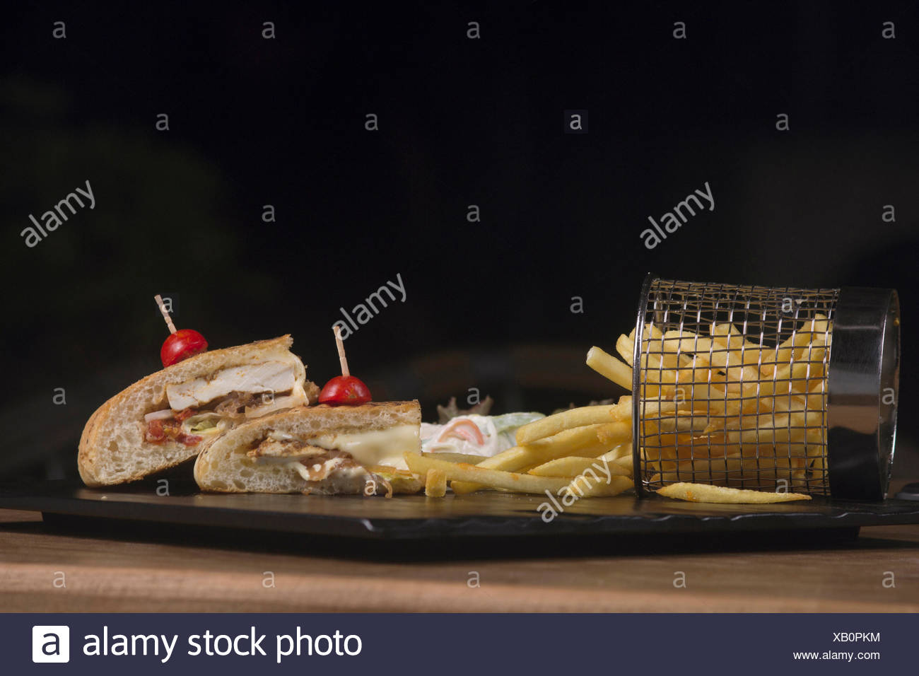 Cajun spiced cottage cheese sandwich - Stock Image